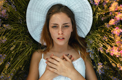 Stella and lavender (dontgiveacake) Tags: girl portrait lavender field summer sunset nature natural light upside down close freckles face beauty beatiful finesse look deep eyes hat dress white hands
