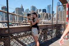 Brooklyn Bridge Photograher (dangaken) Tags: nyc newyorkny newyorknewyork ny empirestate bigapple usa unitedstates us america summer city urban brooklynbridge brooklynbridgepark brooklyn bridge suspensionbridge manhattan eastriver eastriverbridge dumbo brooklynheights 1883 johnaugustusroebling roebling johnroebling neogothic fuji fujiflim xmount eyeliner shorts canonrebel photog dgaken dangaken photobydangaken