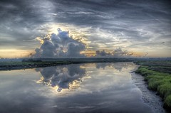 Dawns Dimensionality (thepres6) Tags: marsh reflection clouds storms georgia sunrise dawn cloud thunderstorms