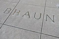Braun, Marietta, OH (Robby Virus) Tags: oh ohio marietta braun sidewalk cement concrete pavement brass inlay inlaid