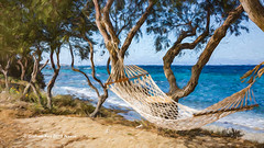 7682TSr Relax (foxxyg2) Tags: rest relax relaxation hammock coast beach blue trees naxos cyclades greece greekislands islandlife islandhopping kastraki topaz topazsoftware sopazstudio art