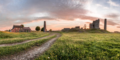 Magpie Mines Sunset (Nathan J Hammonds) Tags: magpie mines uk peak district england national park lead panoramic hdr stitching sunset summer nikon d750 landscape flowers towers buildings path clouds sky grass