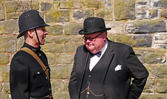 1940s Bobby & Sir Winston 'Winnie' Churchill. (wontolla1 (Septuagenarian)) Tags: elr east lancs lancashire railway bury bolton street station winston churchill prime minister ww2 reenactment characters dressing up uniform train