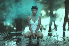 Camila (CheloXs) Tags: palermo argentina blue azul smoke buenos aires humo lago lake face portrait