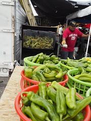 Roasting chiles (qbose8) Tags: greenchile milehighfleamarket olympus17mm18