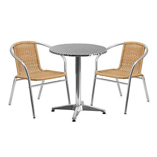 """Flash Furniture 23.5"""" Round Aluminum Indoor-Outdoor Table Set with 2 Beige Rattan Chairs For Sale"""