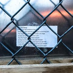 """The Plot Rapist"" (wwward0) Tags: cc chainlink fence graffiti manhattan metal nyc outdoor soho text wwward0 newyork unitedstates us"