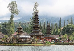 Pura Danau Bratan, Bali (scinta1) Tags: bali bedugul lake bratan water temple pura meru trees hillside green mist