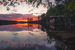 Summer Nights (MattiBo) Tags: suomi sunset scandinavia water nature landscape landscapes lake maisema colors travel beautiful nikon nuuksio nikkor summer light longexposure lakes rocks helsinki golden finland forest