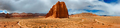 Temple of the Sun, Cathedral Valley, Utah (EdBob) Tags: templeofthesun templeofthemoon cathedralvalley sandstone monoliths desert capitolreef nationalpark travel scenic geology geological utah usa america americansouthwest southwest panorama panoramic sky clouds red rock nature environment wilderness arid stark remote edmundlowephotography edmundlowe allmyphotographsare©copyrightedandallrightsreservednoneofthesephotosmaybereproducedandorusedinanyformofpublicationprintortheinternetwithoutmywrittenpermission wwwedmundlowephotocom