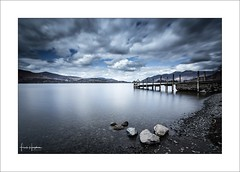 Interlude XI (Frank Hoogeboom) Tags: jetty barrowbay unitedkingdom uk lakedistrict ashnessjetty lake keswick derwentwater derwent water bay pier landscape waterscape sky cloud color blue fineart longexposure cumbria england english britain british rocks vista