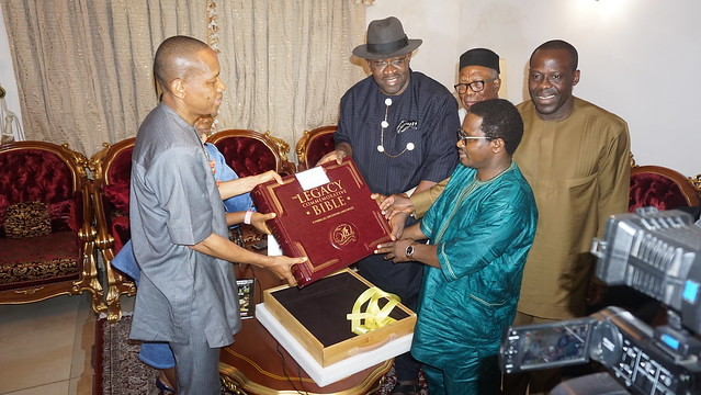 HSDickson - Presented a Legacy Bible by Rev Seyi Malomo, and a delegation from the Aso Villa Chapel 19th May 2018