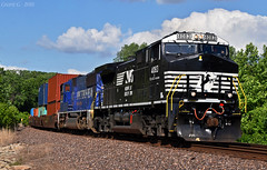 """Westbound Intermodal in Muncie, KS (""""Righteous"""" Grant G.) Tags: ns norfolk southern railway railroad locomotive train trains west westbound up union pacific 2002 2001 winter olympic games intermodal kansas city"""
