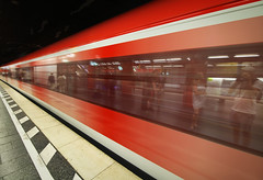 Subway Reflection (ScooteRoo) Tags: europe subway train underground germany red reflection people fast motion contrast marienplatz sbahn bahnhof munich flickrcentral beautifulcapture flickrsbest vanishingpoint perspective münchen tcf blur