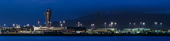 terminal 1 and 2 panorama (pbo31) Tags: bayarea california nikon d810 color june 2018 boury pbo31 evening night dark black bluehour blue panoramic large stitched panorama sanfranciscointernational sfo plane airport aviation flight travel millbrae sanmateocounty airline delta terminal controltower alaskaairlines 737 virginamerica americanairlines construction crane