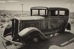 1932 Studabaker On The Highway Of Dreams (dorameulman) Tags: dorameulman arizona petrifiedforrest paintedforest studabaker oldcar landscape landscapephotography monochrome blackandwhite canon7dmark11 canon auto