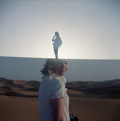 Horizon (Lithium Pears) Tags: film analogue kodakportra morocco yashica635 doubleexposure saharadesert ergchebbi mediumformat twinlensreflex outdoors desert sanddunes afternoon sunset