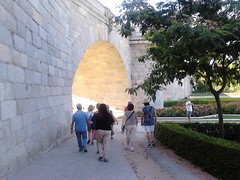 Puente de Toledo 1732, Madrid Rio : a marvel of urban planning! (d.kevan) Tags: toledobridge puentedetoledo bridges people paths walls signs inscriptions parksandgardens madridrio flowers plants trees hedges roses arches