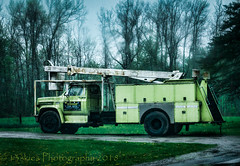 In Wait (HTT) (13skies) Tags: singleshothdr raining overcast dreary truck sitting green older truckthursday tires boom happytruckthursday big lifting driveway doors compartments working labour heavylifting position bucket