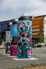Birthday Cake (Jocey K) Tags: newzealand nikond750 christchurch architecture buildings streetart artwork trees clouds sky cbd giantspraycans eastframe