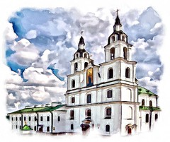 Cathedral of the Blessed Virgin Mary in Minsk. Belarus (V_Dagaev) Tags: cathedral church capital minsk architecture building blue sky sight belarus digital dynamicautopainter painterly painting art