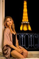 La Vie En Rose [2] (Kristen Palatella) Tags: paris france parisian pink girl model eiffel eiffeltower glow yellow light night sky skyline pretty beauty belle boudoir boudoirphotography risque blonde pinkhair bokeh