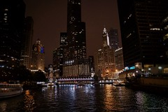 Night View of the Chicago River (Anton Shomali - Thank you for over 1 million views) Tags: trump chicago lights light boat clouds chicagoriver city skyscraper skyline sky trump'stower reflections colors dark night nightview view river downtown cook county cookcounty bigcity lake michigan lakemichigan sony slta77v