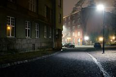 Empty Streets (Mikael R.) Tags: night photography urbanlandscape landscape city street fog atmosphere empty fuji finland