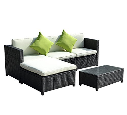 Goplus® Outdoor Patio 5PC Furniture Sectional PE Wicker Rattan Sofa Set Deck Couch Black Review