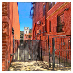 No Passage (Timothy Valentine) Tags: 2018 0618 brick buildings southie large fence boston massachusetts unitedstates us