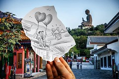 Pencil Vs Camera - Hong Kong (Ben Heine) Tags: benheinephotography photography composition light smartphone nature landscape beauty beautiful photo photographie art ifttt instagram benheine horizon benheineart pencilvscamera hong kong quick study i made drawing hongkong sketch