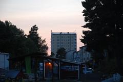 Centrumskrapan i skymningsljus