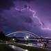 Blue Hour Storm (mtuswan) Tags: lightning thunderstorm hastings bridge mississippiriver mn