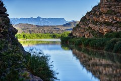 The Rio Grande, Cliff Walls and the Chisos Mountains (HDR, Big Bend National Park)