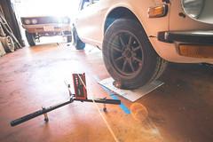 New wheels, tires and alignment! (Shutter Theory) Tags: 240z datsun nissan notwats notawats rotarkr jdm alignment wheels garage garagesunset