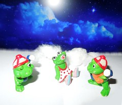 frogs in snow (cloversun19) Tags: toy surprise frogs frog snow sky night winter cold toys blue white froggy stars clouds
