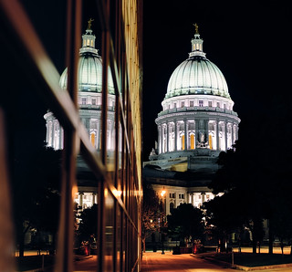 Reflection of the Capitol at night, Madison WI
