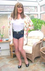 Janehotpntscons-001 (fionaxxcd) Tags: crossdresser crossdressing cd mtf m2t transvestite trannie tg tgurl hotpantslegs rednails redlipstick crotch bust breasts longhair patentshoes