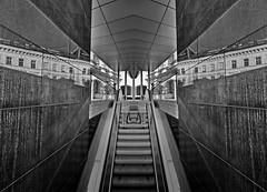 twins (heinzkren) Tags: spiegelung reflection schwarzweis blackandwhite bw sw monochrome geometry stairs rolltreppe urban wien vienna albertina panasonic lumix building mirage escalator lines woman frau double doppelt street streetphotography butterfly