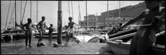 Footballers. Naples, Italy. (tonywright617) Tags: footballers casteldellovo naples italy fujica g617 panoramic ilford hp5 iso400 mediumformat 120 monochrome bw film analogue