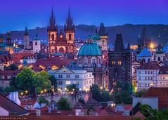 Blue hour: Prague and the towers (Robert Schüller) Tags: prague towers 100 golden city blue hour
