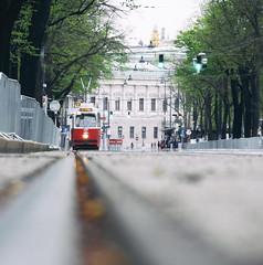 Vienna Tramway (CoolMcFlash) Tags: tram tramway vienna traffic street lowangleview track public transport focs dof depthoffield strasenbahn strase bim wien verkehr geleise schienen tiefenschärfe focus fokus fotografie photography city stadt canon eos 60d tamron b008 18270