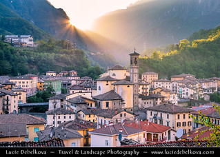 Italy - Alps - San Giovanni Bianco - Alpine historical town at Sunset