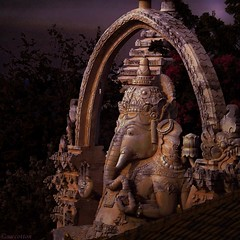 Remover of Obstacles and the Lord of Beginnings. (scinta1) Tags: bali digitaleffects transformation filters ganesha statue hindu colour dark night sombre