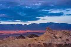 Death Valley - Zabriskie Point - Light and Manly Beacon (ImNotDedYet) Tags: deathvalley deathvalleynationalpark california desert zabriskiepoint manleybeacon sunrise light clouds mountains