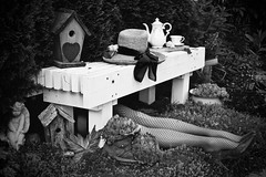 Garden Hat (ladybugdiscovery) Tags: hatsandco smileonsaturday garden jewelry legs stockings fishnet shoes boot birdhouse birdhouses angel hennchicks tea flower teapot teacup bench bw