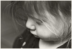Grand Daughter #22 2018; Shy (hamsiksa) Tags: child children toddlers youngsters twoyearolds girls granddaughters littlegirls blackwhite blackwhiteportraits portraita candidportraits informalportraits childhood generations family