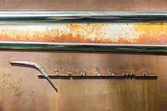 Oxidized Firedome (GmanViz) Tags: gmanviz color car automobile vehicle detail nikon d7000 1956 desoto firedome chrome badge script type trim patina oxidation rust