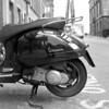 scooter self (Gabo Barreto) Tags: leeds vespa scooter motorcycle reflection parked selfie mediumformat 6x6 120 tmx kiev88cm analoguephotography selfdeveloped monochrome blackandwhite wheel squareformat