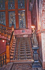 St Augustine  Florida - Ponce de Leon Hotel - Flagler College -  Staircase (Onasill ~ Bill Badzo - 56 Million Views - Thank Yo) Tags: florida fl st augustine historic city historical ponce de leon hotel flagler college interior dome mural standard oil henry founder architecture style spanish renaissance carriere hasting architects concrete electricity onasill spanishquarters dc thomas edison adaptive reuse restored johnscounty saint landmark old vintage photo quarters nrhp wood staircase light fixture night lamp hdr stain glass